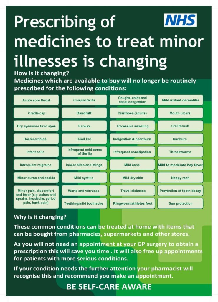 Medicines which are available to buy will no longer be routinely prescribed for certain conditions.